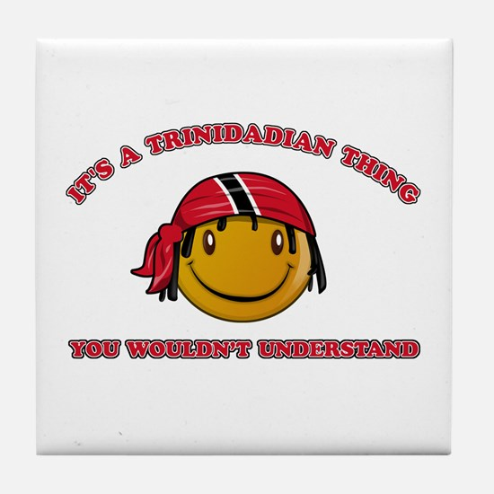 Trinidadian Smiley Designs Tile Coaster