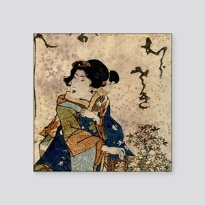 "Vintage Japanese Art Woman Square Sticker 3"" x 3"""