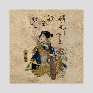 Vintage Japanese Art Woman Queen Duvet