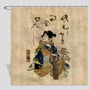 Vintage Japanese Art Woman Shower Curtain