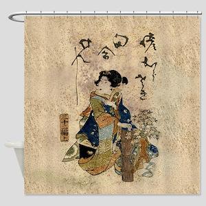Vintage Japanese Art Woman Shower Curtain