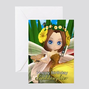 Goddaughter Trendy Fairy Birthday Greeting Card