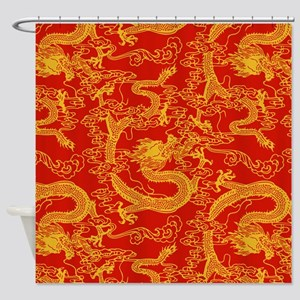 Dragon Pattern Red Yellow 9x9 Shower Curtain