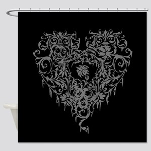 Ornate Grey Gothic Heart Shower Curtain