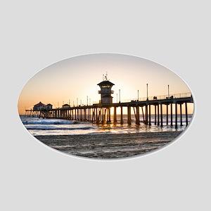 HDR Huntington Beach Pier at Sunset 20x12 Oval Wal