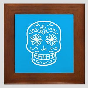 Blue Sugar Skull Framed Tile