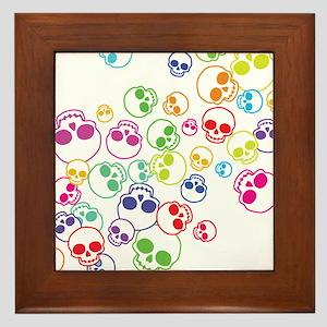 Jumble Of Sugar Skulls Framed Tile