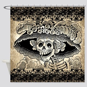 Vintage Catrina Calavera Shower Curtain
