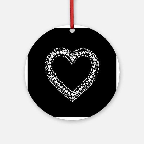 Pretty Skull Heart Ornament (Round)