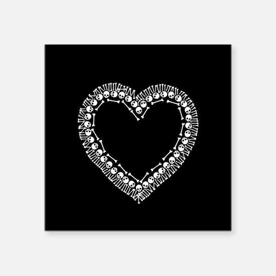 """Pretty Skull Heart Square Sticker 3"""" x 3"""""""
