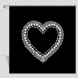 Pretty Skull Heart Shower Curtain