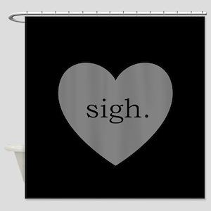 Grey Heart Sigh Shower Curtain
