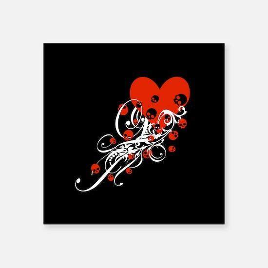 "Heart With Skulls And Swirls Square Sticker 3"" x 3"