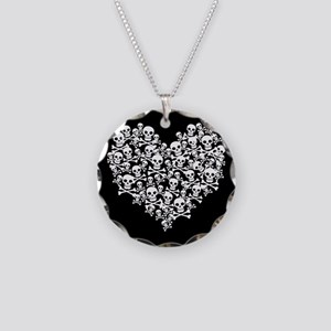 Skull Heart Necklace Circle Charm
