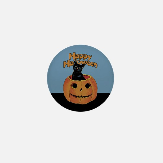 Vintage Halloween Cat In Pumpkin Mini Button
