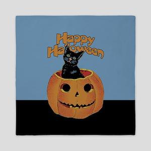 Vintage Halloween Cat In Pumpkin Queen Duvet