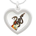 Snake Guitar 01 Silver Heart Necklace