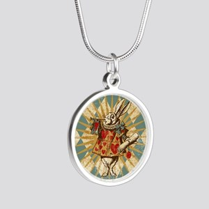 Alice White Rabbit Vintage Silver Round Necklace