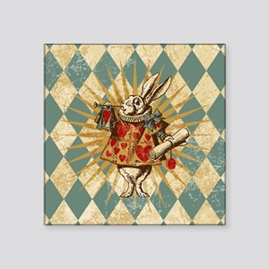 "Alice White Rabbit Vintage Square Sticker 3"" x 3"""
