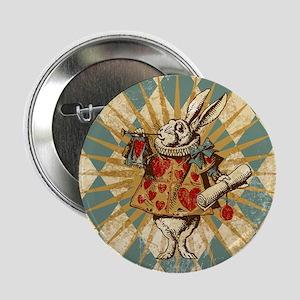 "Alice White Rabbit Vintage 2.25"" Button"