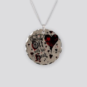 Off With Her Head Necklace Circle Charm