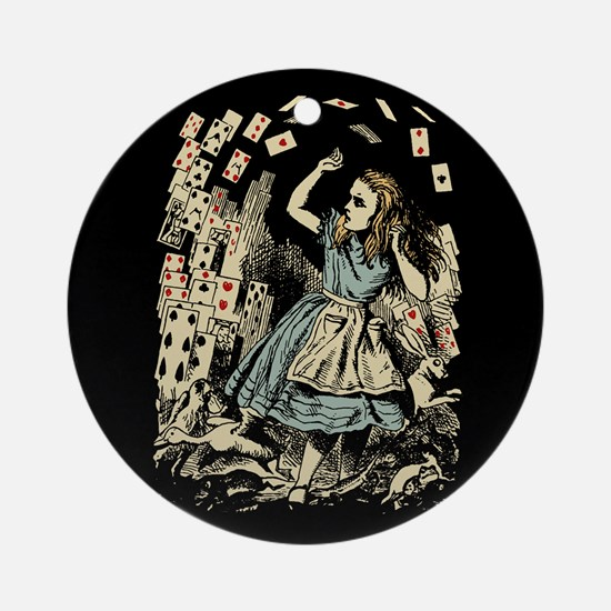 Vintage Alice Flying Cards Dark Ornament (Round)