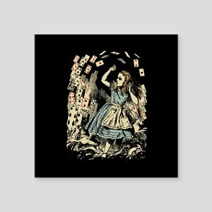 Vintage Alice Flying Cards Dark Square Sticker 3""