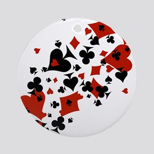 Scattered Card Suits Ornament (Round)