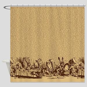 Vintage Alice Border Brown Shower Curtain