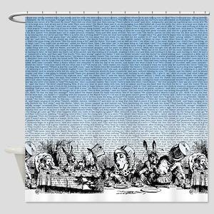 Vintage Alice Border Blue Shower Curtain
