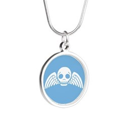 Cute Blue Skull With Wings Silver Round Necklace