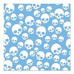 Light Blue Random Skull Pattern Square Car Magnet