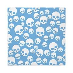 Light Blue Random Skull Pattern Queen Duvet