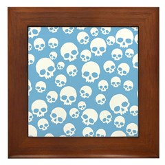 Light Blue Random Skull Pattern Framed Tile