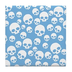 Light Blue Random Skull Pattern Tile Coaster