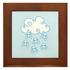 Cute Skull Raincloud Framed Tile