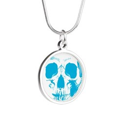Blue Skull Face Silver Round Necklace