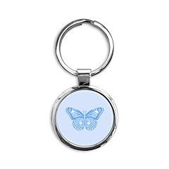 Blue Skull Butterfly Round Keychain