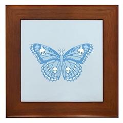 Blue Skull Butterfly Framed Tile