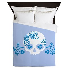 Skull With Blue Blossoms Queen Duvet