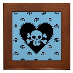 Blue Skull Crossbones Heart Framed Tile