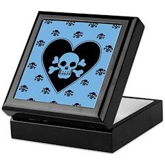 Blue Skull Crossbones Heart Keepsake Box