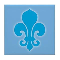 Blue Fleur De Lis Tile Coaster