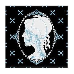 Pretty Skull Cameo Tile Coaster