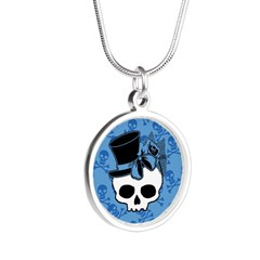 Cute Skull With Blue Bow Tophat Silver Round Neckl