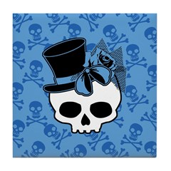 Cute Skull With Blue Bow Tophat Tile Coaster