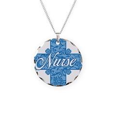 Lacy Blue Nurse Cross Necklace