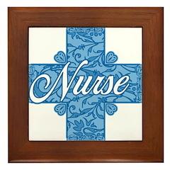 Lacy Blue Nurse Cross Framed Tile