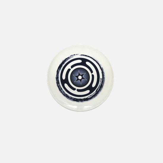 Blue Hecate's Wheel Mini Button