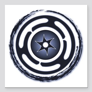 "Blue Hecate's Wheel Square Car Magnet 3"" x 3"""